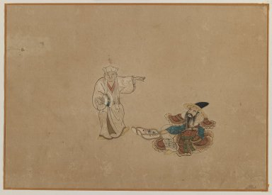 Brooklyn Museum: Two Figures, Album Leaf Painting