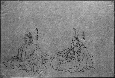 Two Noblemen, 19th-20th century. Brush sketch, ink on paper, Image: 9 3/4 x 14 1/2 in. (24.8 x 36.8 cm). Brooklyn Museum, Gift of Dr. Jack Hentel, 81.204.8