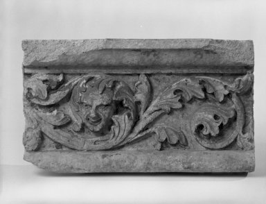 Unknown American. Foliate Border with Head, from Turner Towers, 135 Eastern Parkway, Brooklyn, 1928. Cast Stone: cement composition and vitreous enamel, Other: 9 x 8 x 9 in. (22.9 x 20.3 x 22.9 cm). Brooklyn Museum, Gift of Charles Free, 81.209.10. Creative Commons-BY