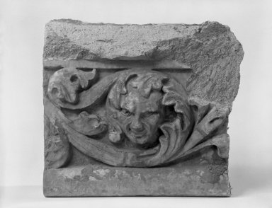 Unknown American. Foliate Border with Head, from Turner Towers, 135 Eastern Parkway, Brooklyn, 1928. Cast Stone: cement composition and vitreous enamel, Other: 6 x 8 x 4 in. (15.2 x 20.3 x 10.2 cm). Brooklyn Museum, Gift of Charles Free, 81.209.8. Creative Commons-BY