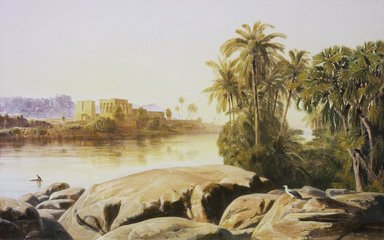 Edward Lear (British, 1812-1888). Philae on the Nile, 1855. Oil on canvas, 13 3/4 x 21 3/8 in. (34.9 x 54.3 cm). Brooklyn Museum, Gift of David Nash, 81.210