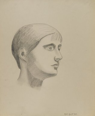 George Copeland Ault (American, 1891-1948). Girl's Head, 1927. Graphite on paper, sheet: 15 5/8 x 13 5/16 in. (39.7 x 33.8 cm). Brooklyn Museum, Gift of Maurice Vanderwoude in memory of Louise Ault, 81.250.1