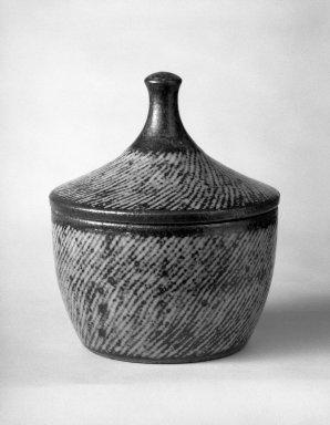 """Shimaoka Tatsuzo (Japanese, born 1919). Shimaoka Tatsuzo, Futamono, ca. 1960. stoneware, H: 5 1/4"""" with cover; 2 3/4"""" bowl only. Brooklyn Museum, Gift of Dr. John P. Lyden, 81.296.5. Creative Commons-BY"""