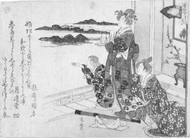 Ryuryuko Shinsai (Japanese, 1764-1820). Beauties Looking at the Sea in Early Spring, from Contest of the Immortals of Poetry (Kasen awase), ca. 1809. Woodblock print, 5 1/4 x 7 3/8 in. (13.5 x 18.8 cm). Brooklyn Museum, Gift of Mr. and Mrs. Peter P. Pessutti, 81.297.4