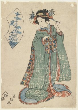 Kuninobu, A Woman Fastening Her Hair Ornament, ca. 1815-1820. Woodblock print, 9 1/2 x 6 3/4 in. (24.1 x 17.1 cm). Brooklyn Museum, Gift of Mr. and Mrs. Peter P. Pessutti, 81.297.8