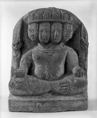 Six-Headed Karttikeya, possibly 17th century. Stone, 11 7/8 x 9 1/4 in. (30.2 x 23.5 cm). Brooklyn Museum, Gift of William Wolff, 81.303.2. Creative Commons-BY