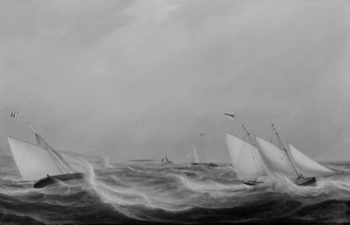 William Clark (Scottish, 1803-1883). Yachts Racing off the Coast, 1837. Oil on canvas, 20 x 30 in. (50.8 x 76.2 cm). Brooklyn Museum, Gift of Mr. and Mrs. Wilbur L. Ross, Jr., 81.309
