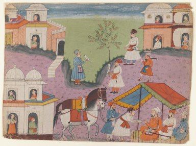Indian. Courtiers' Escapades, Page from an Unidentified Narrative Series, ca. 1670. Opaque watercolors on paper, sheet: 8 5/8 x 11 3/4 in.  (21.9 x 29.8 cm). Brooklyn Museum, Gift of Dr. and Mrs. Kenneth X. Robbins, 81.317