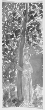 Consuelo Kanaga (American, 1894-1978). [Untitled] (Woman and Tree). Watercolor on board, 14 1/8 x 5 5/8 in.  (35.9 x 14.3 cm). Brooklyn Museum, Gift of Wallace B. Putnam, 81.318.1