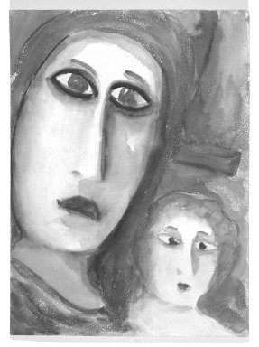 Consuelo Kanaga (American, 1894-1978). [Untitled] (Woman and Child)(recto) and [Untitled] (Woman) (verso). Watercolor on paper, 11 7/8 x 8 1/4 in.  (30.2 x 21.0 cm). Brooklyn Museum, Gift of Wallace B. Putnam, 81.318.3a-b