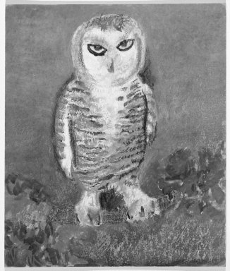 Consuelo Kanaga (American, 1894-1978). [Untitled] (Owl). Pastel and watercolor on board, 11 x 9 1/4 in.  (27.9 x 23.5 cm). Brooklyn Museum, Gift of Wallace B. Putnam, 81.318.7