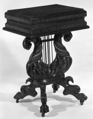 Dress Table with Veneer, ca. 1830. Mahogany, 33 x 33 1/4 x 18 1/2 in. (83.8 x 84.5 x 47 cm). Brooklyn Museum, Gift of Mrs. Donald M. Oenslager, 81.32.1. Creative Commons-BY