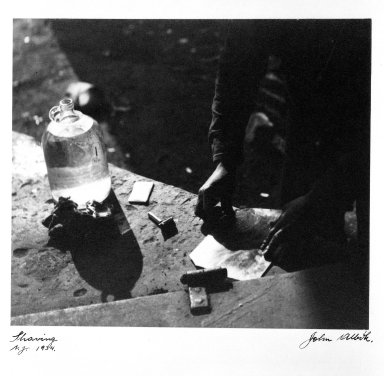 John Albok (American, born Hungary, 1894-1982). Shaving (Barbershop, Hooverville), 1933. Gelatin silver photograph, image: 8 3/16 x 9 1/2 in. (20.8 x 24.1 cm). Brooklyn Museum, Gift of James Garfinkel, 81.42. © Estate of John Albok
