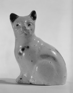 Figure of a Cat, ca. 1800. Salt-glazed stoneware, 3 1/4 x 2 1/2 x 1 7/8 in. (8.3 x 6.4 x 4.8 cm). Brooklyn Museum, Bequest of Dr. Grace McLean Abbate, 81.53.9. Creative Commons-BY
