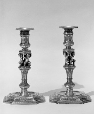 Charles Hatfield. Candlestick with Removable Bobeche, One of Pair, 1728-1729. Silver, 9 1/4 x 5 3/8 x 5 3/8 in. (23.5 x 13.7 x 13.7 cm). Brooklyn Museum, Bequest of Donald S. Morrison, 81.54.11. Creative Commons-BY