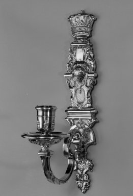 Paul de Lamerie. Wall Sconce, One of Set, ca. 1720. Silver, 12 5/8 x 2 3/4 x 6 1/2 in. (32.1 x 7 x 16.5 cm). Brooklyn Museum, Bequest of Donald S. Morrison, 81.54.35. Creative Commons-BY