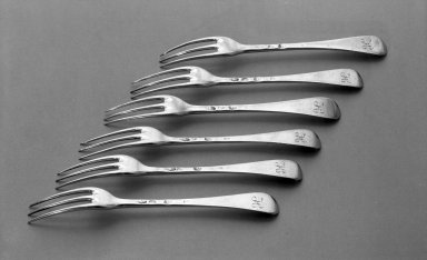 Paul de Lamerie. Fork, One of Set, 1711-1712. Silver, 3/4 x 3/4 x 6 1/2 in. (1.9 x 1.9 x 16.5 cm). Brooklyn Museum, Bequest of Donald S. Morrison, 81.54.37. Creative Commons-BY