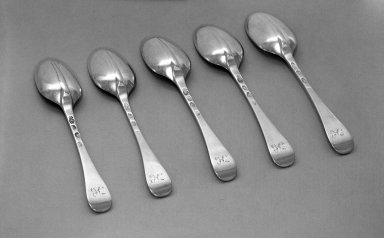 Paul de Lamerie. Spoon, One of Set, ca. 1711-12. Silver, 3/4 x 1 3/8 x 6 7/8 in. (1.9 x 3.5 x 17.5 cm). Brooklyn Museum, Bequest of Donald S. Morrison, 81.54.44. Creative Commons-BY