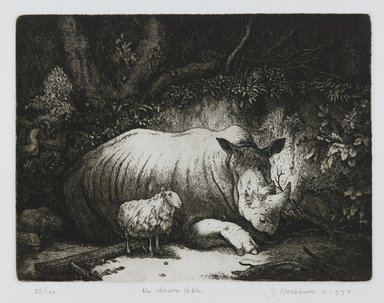 Stan Washburn (American, born 1943). The Obscure Fable, 1978. Etching on paper, sheet: 19 3/8 x 11 7/8 in. (49.2 x 30.2 cm). Brooklyn Museum, Gift of Stan Washburn, 81.79.3. © Stan Washburn