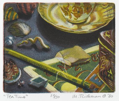 Mary Teichman (American, born 1954). Tea Time, 1980. Etching and aquatint on paper, sheet: 12 1/4 x 10 7/8 in. (31.1 x 27.6 cm). Brooklyn Museum, Designated Purchase Fund, 81.80.1. © Mary Teichman