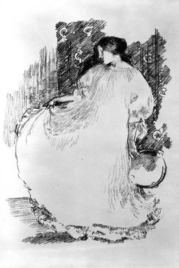 Robert Anning Bell (British, 1863-1933). Girl with Tamborine, ca. 1890. Lithograph on wove paper, 11 1/8 x 7 15/16 in. (28.3 x 20.1 cm). Brooklyn Museum, Frank L. Babbott Fund, 81.94.1