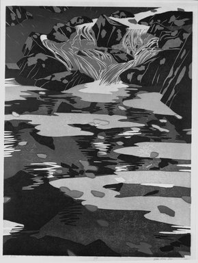 Deng Ming-Dao (American, born 1954). Little River, 1980. Woodcut, Sheet: 29 1/8 x 22 3/16 in. (73.9 x 56.3 cm). Brooklyn Museum, Frank L. Babbott Fund, 81.97.2. © Ming-Dao Deng