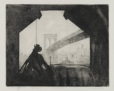 Arthur Cohen (American, 1928 - 2012). Brooklyn Bridge 7, 1982. Etching with aquatint Brooklyn Museum, Gift of the artist, 82.139.1. © Estate of Arthur Cohen