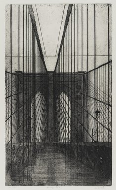 Arthur Cohen (American, 1928-2012). Brooklyn Bridge 9, 1982. Etching with aquatint Brooklyn Museum, Gift of the artist, 82.139.2. © Estate of Arthur Cohen