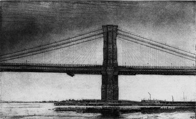 Arthur Cohen (American, 1928-2012). Brooklyn Bridge 8, 1982. Etching with aquatint Brooklyn Museum, Gift of the artist, 82.139.3. © Estate of Arthur Cohen