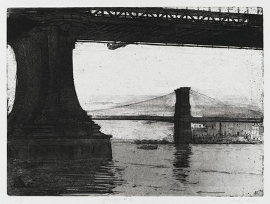 Arthur Cohen (American, 1928 - 2012). Brooklyn Bridge 2, 1982. Etching with aquatint Brooklyn Museum, Gift of the artist, 82.139.5. © Estate of Arthur Cohen