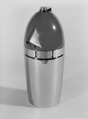 Walter Kidde Sales Co.. Seltzer Bottle, design introduced 1938. Chromed and enameled metal with rubber fittings, 10 x 4 1/4 x 4 1/4 in. (25.4 x 10.8 x 10.8 cm). Brooklyn Museum, H. Randolph Lever Fund, 82.168.2a-b. Creative Commons-BY