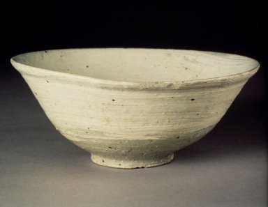 Bowl, last half of 15th-16th century. Buncheong ware, stoneware with underglaze white slip decoration, Height: 2 15/16 in. (7.4 cm). Brooklyn Museum, Gift of Bernice and Robert Dickes, 82.173. Creative Commons-BY