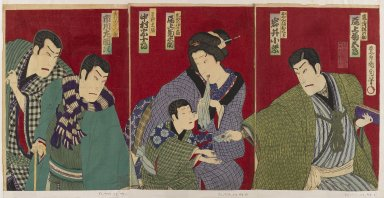 Kunichika Toyohara (Japanese, 1835-1900). Triptych: Kabuki Scene, 1879. Color woodblock print, 14 3/8 x 19 5/8 in. (36.5 x 49.8 cm). Brooklyn Museum, Gift of Dr. Jack Hentel, 82.179.11