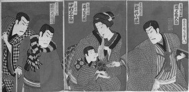 Kunichika Toyohara (Japanese, 1835-1900). Triptych: Kabuki Scene, 1879. Color woodblock print, 14 3/8 x 19 5/8 in. (36.5 x 49.8 cm). Brooklyn Museum, Gift of Dr. Jack Hentel, 82.179.11