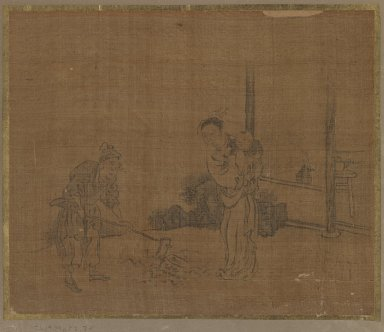 Album Leaf Painting: Farmer, Wife and Child, 18th century. Album leaf, ink on silk, Image: 9 1/2 x 11 3/8 in. (24.1 x 28.9 cm). Brooklyn Museum, Gift of Dr. Jack Hentel, 82.179.4