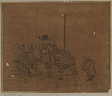 Sessen (Japanese, flourished ca. 1820). Album Leaf Painting: Official and Two Attendants, 18th century. Album leaf, ink on silk, Image: 9 1/2 x 11 5/8 in. (24.1 x 29.5 cm). Brooklyn Museum, Gift of Dr. Jack Hentel, 82.179.6