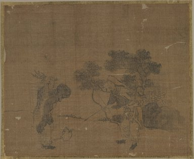 Sessen (Japanese, flourished ca. 1820). Album Leaf Painting: Hunters, 18th century. Album leaf, ink on silk, Image: 9 3/8 x 11 1/2 in. (23.8 x 29.2 cm). Brooklyn Museum, Gift of Dr. Jack Hentel, 82.179.7