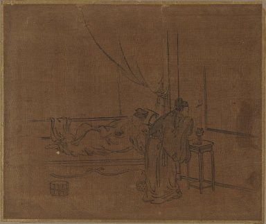 Sessen (Japanese, flourished ca. 1820). Album Leaf Painting: Two Figures, 18th century. Album leaf, ink on silk, 10 5/8 x 12 3/4 in. (27 x 32.4 cm). Brooklyn Museum, Gift of Dr. Jack Hentel, 82.179.8