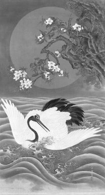Tokosai Yoshitatsu (Japanese, 19th century). Hanging Scroll Painting: Cranes, Waves, Peach Tree, and Sun, 19th century. Hanging scroll, ink and color on silk, 50 1/2 x 28 in. (128.3 x 71.1 cm). Brooklyn Museum, Gift of Dr. John P. Lyden, 82.183.1