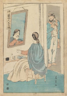 Yoshikazu (Japanese, active 1850-1870). Trader and Wife, ca. 1860. Woodblock print, 14 1/4 x 9 1/4 in. (36.2 x 23.5 cm). Brooklyn Museum, Gift of Mr. and Mrs. Peter P. Pessutti, 82.186.1