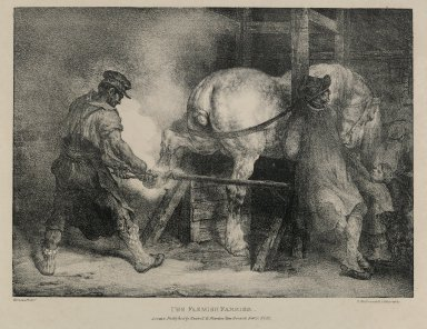Théodore Géricault (French, 1791-1829). The Flemish Farrier. Lithograph on wove paper, Image: 8 7/8 x 12 3/8 in. (22.5 x 31.4 cm). Brooklyn Museum, Anonymous gift, 82.203