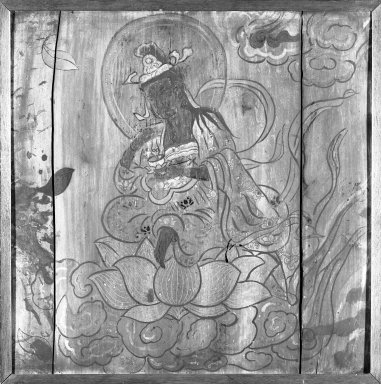 Kannon (Avalokitesvara), 18th-19th century. Ink and color on cypress wood, 25 x 25 in. (63.5 x 63.5 cm). Brooklyn Museum, Gift of Stanley J. Love, 82.226.2