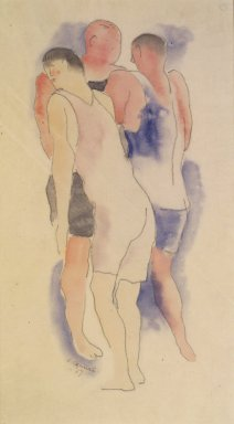 Charles Demuth (American, 1883-1935). Three Male Bathers, 1917. Watercolor and pencil on paper, 11 7/8 x 6 3/4 in. (30.2 x 17.1 cm) (sight). Brooklyn Museum, Gift of John D. and Paul L. Herring in memory of H. Lawrence Herring, 82.245