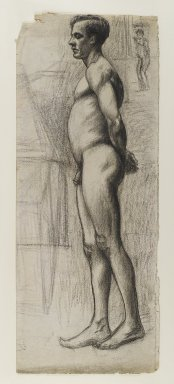 Edward Hopper (American, 1882-1967). Male Nude, ca. 1903-1904. Charcoal (with possible additions of black crayon) on cream, moderately thick, moderately textured laid paper, Sheet (folded): 24 x 9 5/8 in. (61 x 24.4 cm). Brooklyn Museum, Gift of Mr. and Mrs. Morton Ostrow, 82.253.2