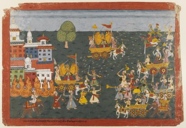 Folio from a Bhagavata Purana Series, ca. 1800. Opaque watercolors on paper, 15 x 21 3/4 in. (38.1 x 55.2 cm). Brooklyn Museum, Gift of Dr. and Mrs. Kenneth X. Robbins, 82.258