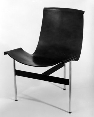 "William Katavalos. ""T"" Chair, ca. 1950-1953. Metal, leather, 30 1/4 x 22 x 22 1/2 in. (76.8 x 55.9 x 57.2 cm). Brooklyn Museum, Gift of David A. Hanks, 82.2. Creative Commons-BY"