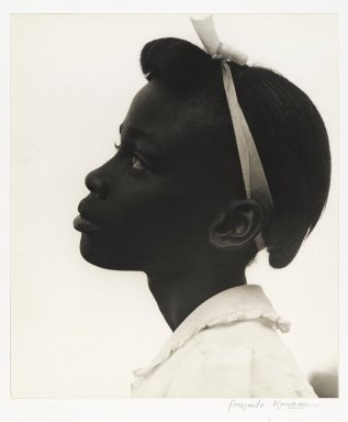 Consuelo Kanaga (American, 1894-1978). [Untitled] (Young Girl in Profile), 1948. Toned gelatin silver photograph, 10 3/8 x 8 7/8 in. (26.4 x 22.5 cm). Brooklyn Museum, Gift of Wallace B. Putnam from the Estate of Consuelo Kanaga, 82.65.11