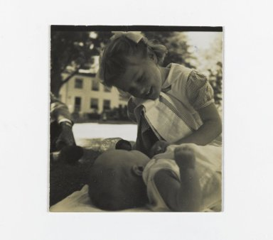 Consuelo Kanaga (American, 1894-1978). [Untitled] (Two Children). Gelatin silver photograph, 2 1/4 x 2 1/4 in. (5.7 x 5.7 cm). Brooklyn Museum, Gift of Wallace B. Putnam from the Estate of Consuelo Kanaga, 82.65.149