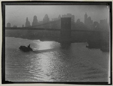 Consuelo Kanaga (American, 1894-1978). [Untitled] (Tug and Barge, East River), 1922-1924. Gelatin silver photograph, 3 1/4 x 4 1/4 in. (8.3 x 10.8 cm). Brooklyn Museum, Gift of Wallace B. Putnam from the Estate of Consuelo Kanaga, 82.65.160
