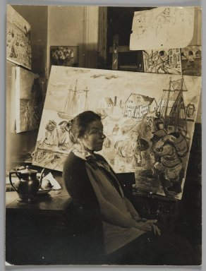 Consuelo Kanaga (American, 1894-1978). [Untitled] (Artist in Her Studio). Gelatin silver photograph, 4 3/4 x 3 1/2 in. (12.1 x 8.9 cm). Brooklyn Museum, Gift of Wallace B. Putnam from the Estate of Consuelo Kanaga, 82.65.168
